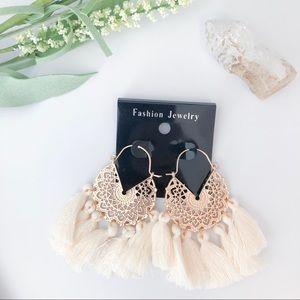Bohemian Cream Tassel Rose Gold Earrings